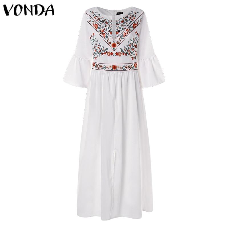 Bohemian Women Vintage Print Dress 19 VONDA Sexy V Neck Ruffle Sleeve Split Maxi Long Dresses Plus Size Casual Loose Vestidos 14