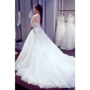 Image 2 - Sweetheart Wedding Dresses Sleeveless Applique Open Back Lace Up A Line Floor Length Sweep Train Bridal Dress Vestido De Noiva