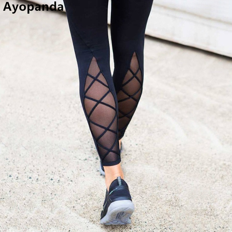 Ayopanda Ankle Biter Tight Women Four-way Stretch Mesh Cross Yoga Pants Solid Black Compression Sports Legging 2017 Autumn New цена 2017