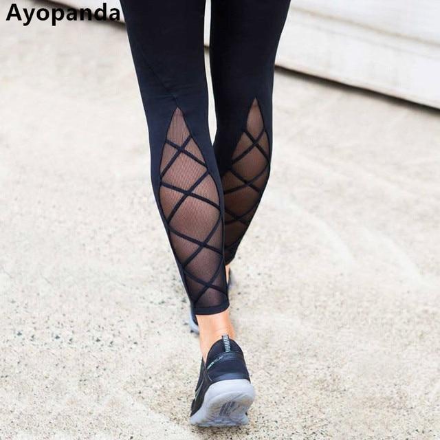 e73c9cb7c8 US $33.98  Ayopanda Ankle Biter Tight Women Four way Stretch Mesh Cross  Yoga Pants Solid Black Compression Sports Legging 2017 Autumn New-in  Running ...