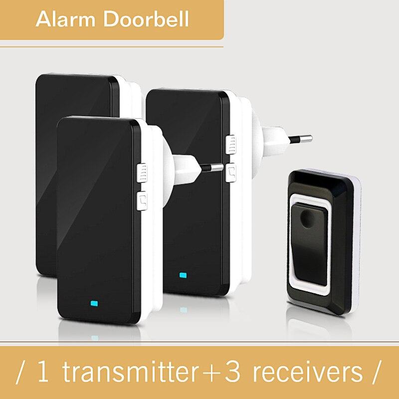 Waterproof Wireless Door Bell AC220V 28 Melody Easy Set Up Home DoorBells With 1 Push Button +3 Indoor Doorbell Receivers 1V3