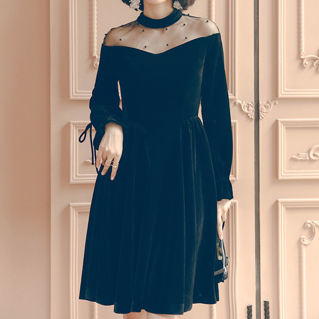 2018 autumn fashion little black dress dinner dress gold velvet long  section Slim long-sleeved mesh dress 79ab30340f57