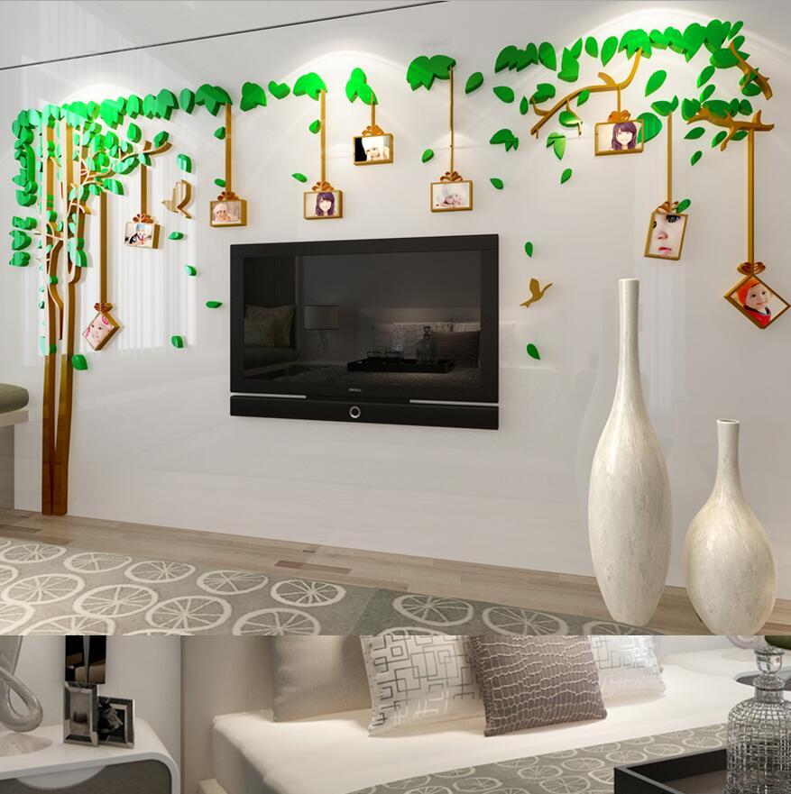 2017 Photo Wall Acrylic 3d Stereo Wall Stickers Obývací pokoj TV Domácí Dekorativní Fotorámeček Strom Nástěnná Nálepka