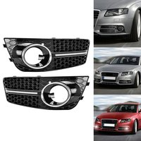Glossy Black Euro Honeycomb Front Lower Bumper Fog Light Grille Grilles Grill For Audi A4 A4L