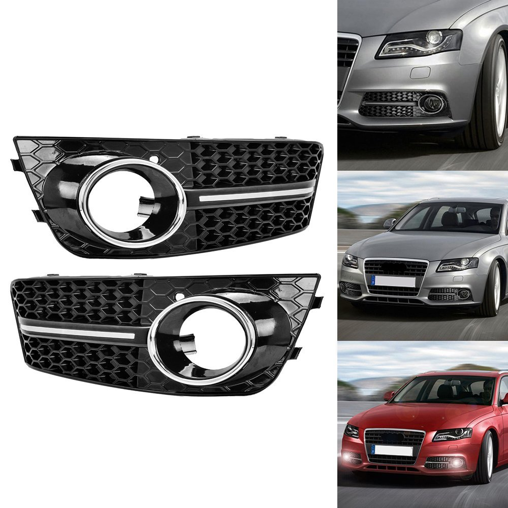 Glossy black euro honeycomb front lower bumper fog light grille for audi a4 a4l b8 2009