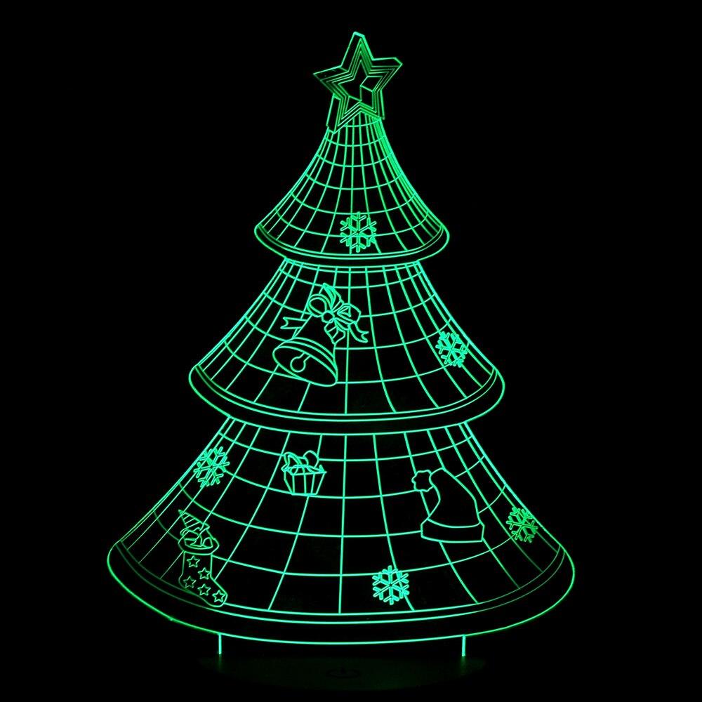 3D LED Optical Illusion Christmas Tree Night Light Multi colored USB ...
