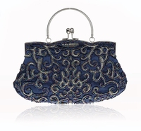 New Design Navy Blue Chinese Women Beaded Wedding Evening Bag Clutch Handbag Stylish Bride Party Purse