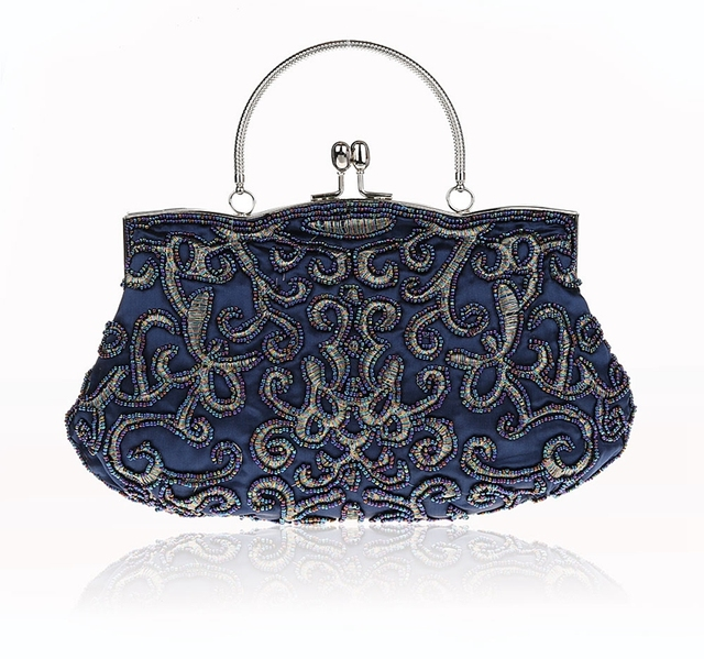 ebe3f3cfdefe New Design Navy Blue Chinese Women Beaded Wedding Evening Bag Clutch