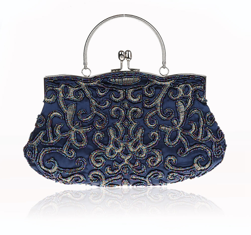 New Design Navy Blue Chinese Women Beaded Wedding Evening Bag Clutch handbag Stylish Bride Party Purse Makeup Bag 03606-1