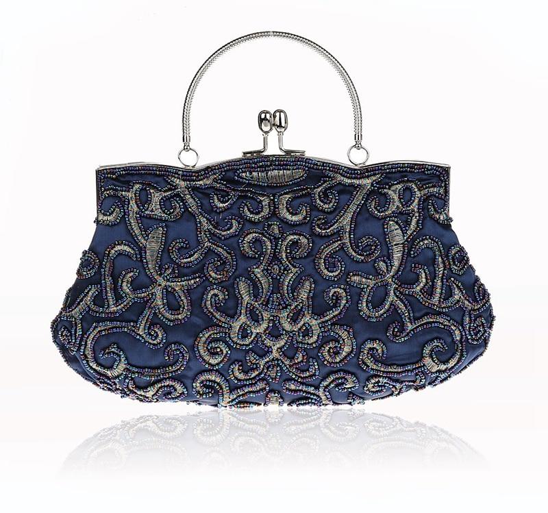 New Design Navy Blue Chinese Women Beaded Wedding Evening Bag Clutch handbag  Stylish Bride Party Purse 8da605e36de1