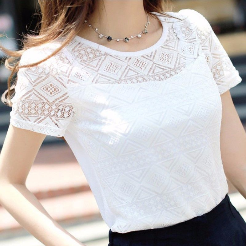 2019 Summer Casual Short Sleeve Chiffon Shirts Women Elegant Lace Hollow Out Blouse Tops Femme O Neck Blouses Blusas Feminina in Blouses amp Shirts from Women 39 s Clothing