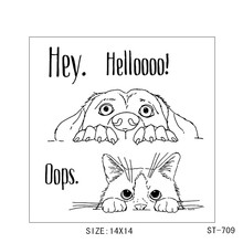 Hey hello cat/dog  Transparent Rubber Stamp/Seal for DIY Scrapbooking/Photo Album Decorative Card Making Clear Stamps Supplies
