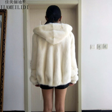Women whole real mink fur short coat big yards loose hooded Puff jacket female winter outerwear