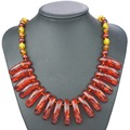 New Arrival Baltic Simulated Imitation Amber Beads Chain Exquisite Pendant Necklace For Women's Girls Statement L61001