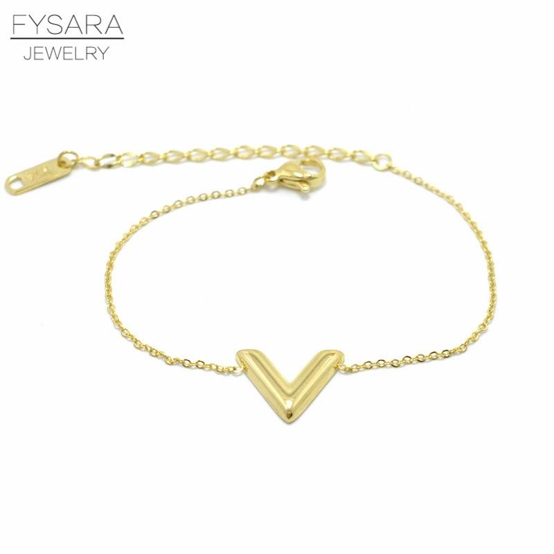 FYSARA Brand Jewelry Triangle V Shape Letter Charm ...