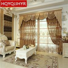 Роскошный Европейский кашемир синели коричневый вышитые шторы для Гостиной с полноценным Вуаль Занавес для Спальни/Кухня