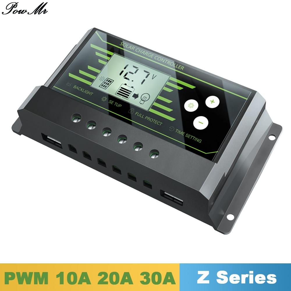 Controlador Solar PWM Y-SOLAR 24 V/12 V Auto 30A 20A 10A Back-light LCD Regulador de Carga Solar com Luz e Temporizador de Controle de Carga