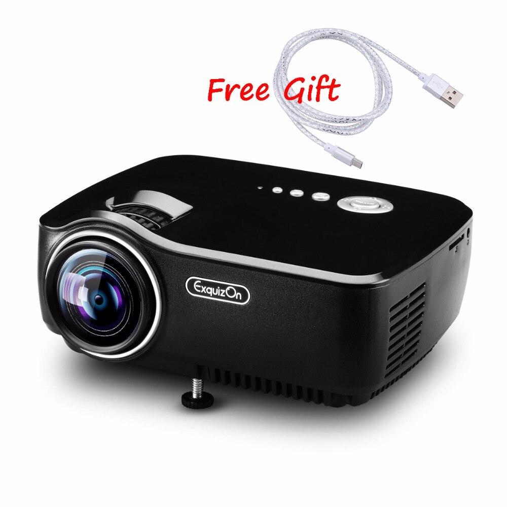 Prix pour Exquizon GP70 Portable de Poche LED Projecteur 1800 Lumens 800*480 Soutien 1920x1080 P Analogique TV Pour La Maison cinéma AM01 Proyector