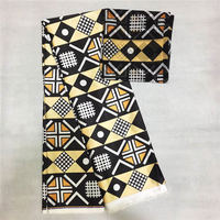 New Silk Prints Fabric 2019 Ankara Satin Wax High Quality 5 yards African Fabric for Party Dress with chiffon scarf matching
