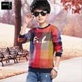 Novo Design do Menino Camisola Estilo Casual Padrão Quadrado Criança Pulôver de Malha Roupas de Alta Qualidade Crianças Quentes Camisola Top 5-15 Anos de Idade