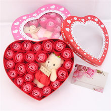 ZOTOONE 18pcs Wedding Decoration Rose Soap Flower Heart Shaped Gift Box Little Bear Flower Valentine's Day Birthday Gift Party E heart shaped rose soap flower with plush animal toys teddy bear doll romantic wedding party flower petals decor valentine gift