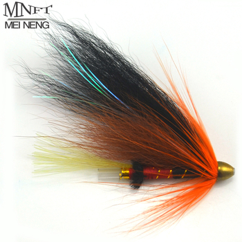 MNFT 4Pcs/Lot Copper Conehead Plastic Tube Salmon Fishing Flies And Steelhead Fly Lures Black & Orange Color image