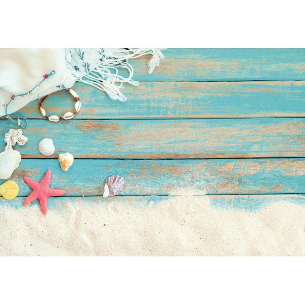 Laeacco Starfish Shell Seaside Planks Wall  Baby Portrait Scenic Photography Backgrounds Photographic Backdrops For Photo Studio