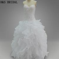 Real Model Ball Gown Strapless White Tulle Ruffles Top Beaded Wedding Dresses