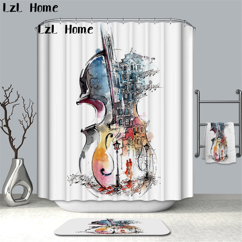 >LzL Home Creative Musical Instrument Printed Shower Curtain Bathroom <font><b>Waterproof</b></font> <font><b>Mildewproof</b></font> Polyester Fabric With Hooks Quality
