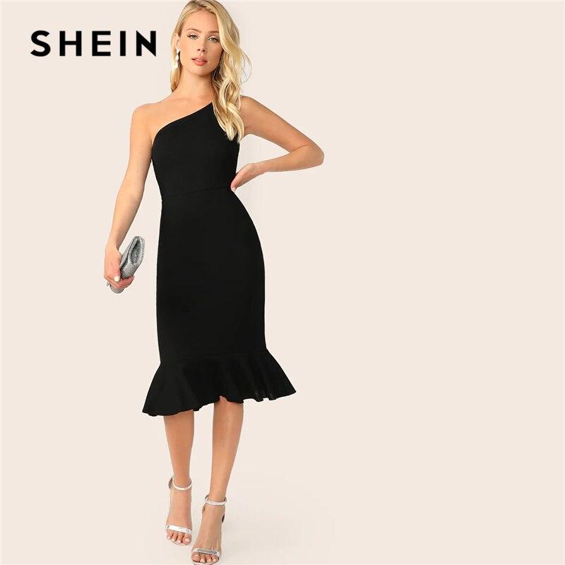 Шеин элегантные вечерние черный одно плечо Pep Hem Лето Bodycon платье миди для женщин Лето 2019 без рукавов Твердые Тонкий платья для