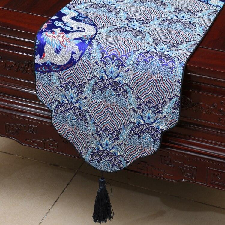 Seawater Dragon Thicken Chinese Silk Table Runner Večeře Party Ubrus Mat Vysoká hustota Damaškové ubrusy