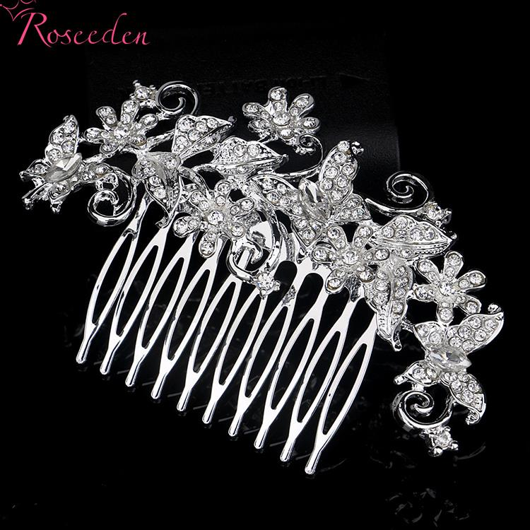 Silver Bridal Wedding Butterfly Diamante Crystal Rhinestones Hair Comb Slide