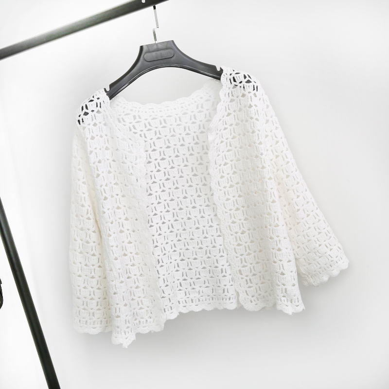Crochet White Lace Hollow Out Knitted Cardigan Blouse 1