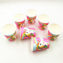 10p/set Unicorn Birthday Party DecorationPaper Cup Cartoon Disposable Tableware Baby Shower Festival Favors