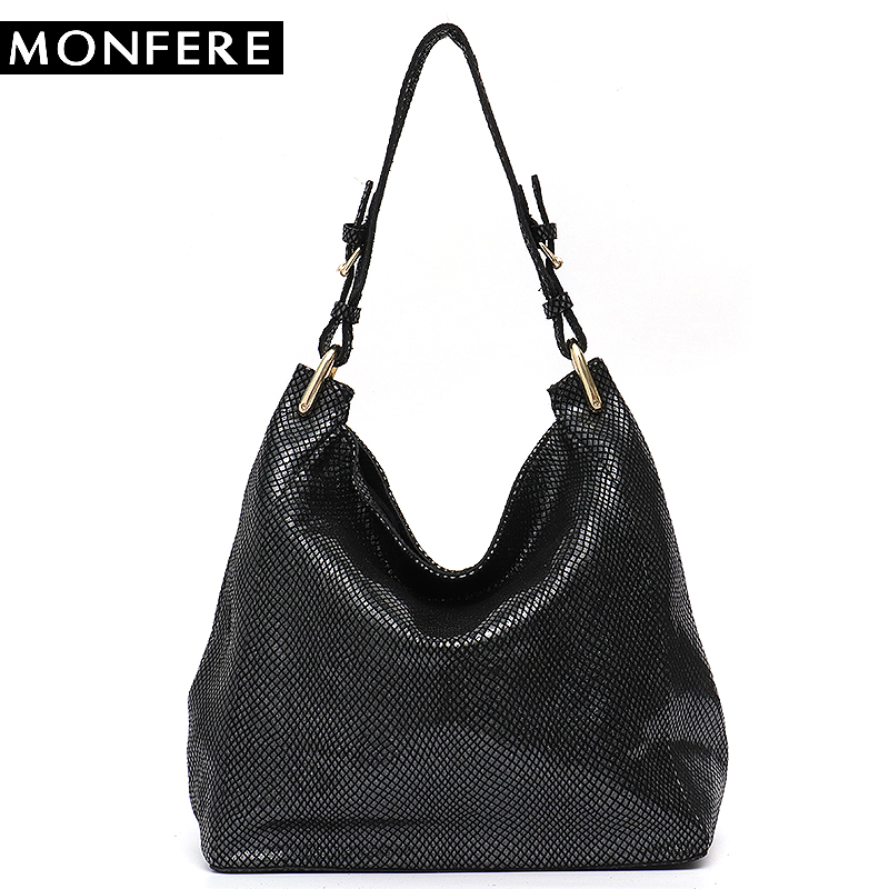 MONFERE Leather Bag Women Shoulder Bag Snake Print Hobo Bags Female High Quality Leather Large Soft Girl Messenger Bags Handbag