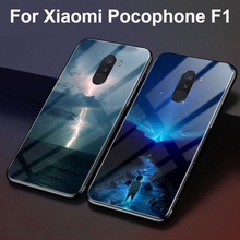 Tempered Glass Back Case For Xiaomi Pocophone F1 Protective