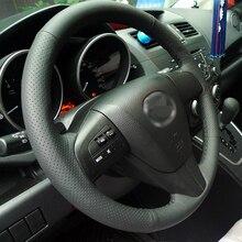 BANNIS черная искусственная кожа DIY сшитая вручную крышка рулевого колеса для 2011-2013 Mazda 3 Mazda CX7