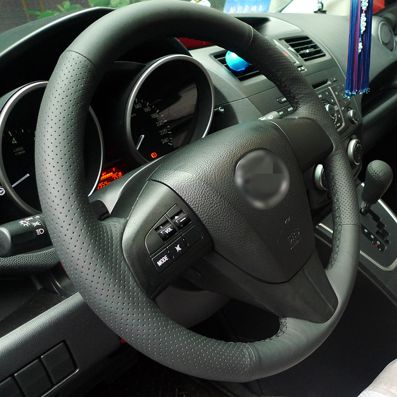 BANNIS Black Artificial Leather DIY Hand-stitched Steering Wheel Cover for 2011-2013 Mazda 3 Mazda CX7