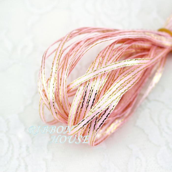 (20 м/лот) 1/8 »(3 мм) розовый золотой край, атласные ленты оптовая продажа