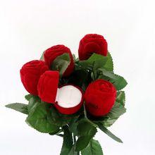 1pcs Elegant Rose Branch Velvet Ring Box Earrings Holder For Jewelry Display Storage Wedding Engagement Packaging