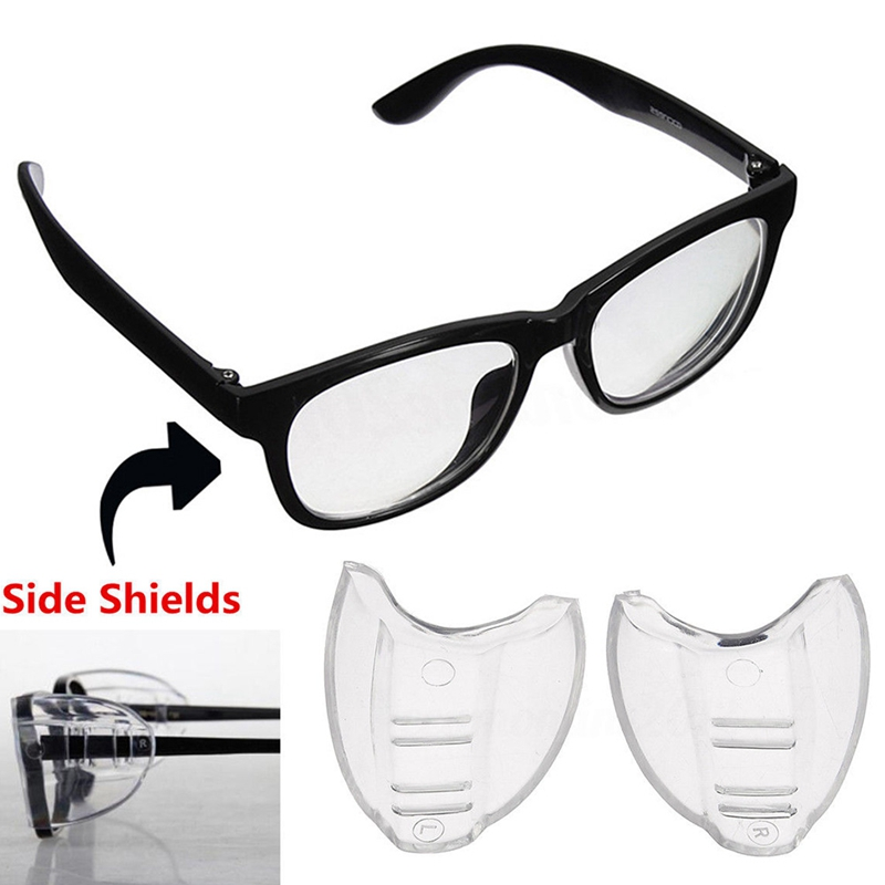 2Pcs/Pair Safety Glasses Goggles Protector Eyewear Glasses Side Shields Safety Non-toxic Clear Universal Flexible Side Shields