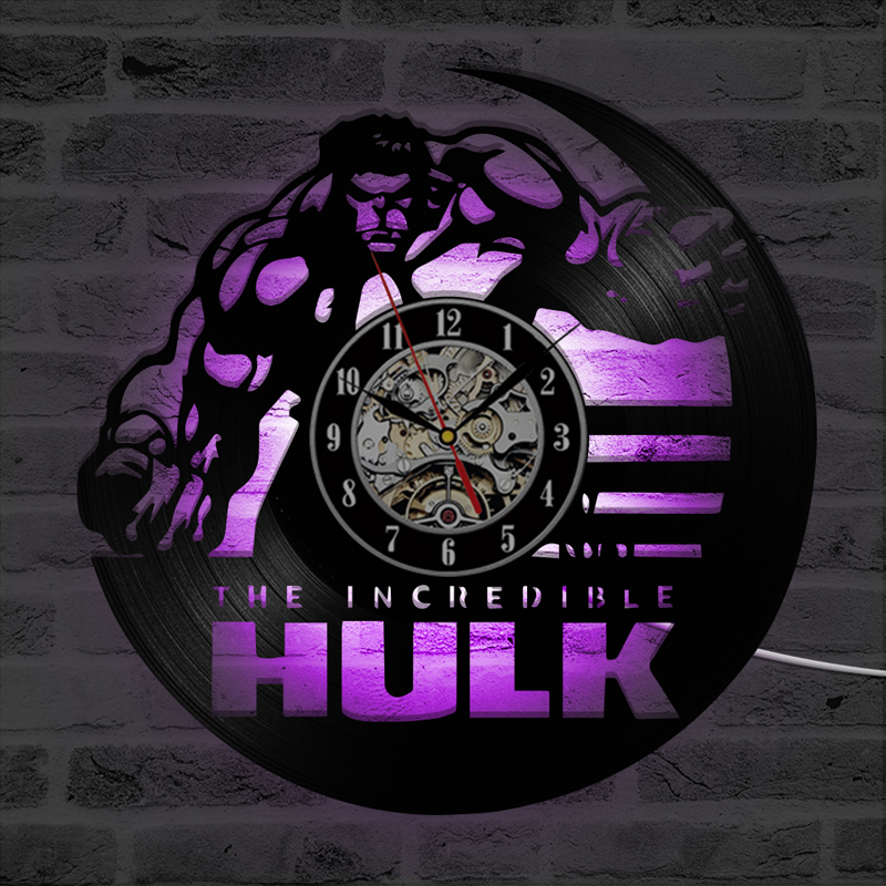 The Avengers Marvel Hulk Vinyl Record Wall Clock with <font><b>7</b></font> LED Colors Change Vintage Vinyl Clocks Wall Watch Home Decoration <font><b>12</b></font>