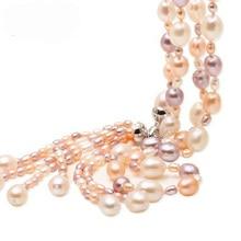 Moda largo de múltiples capas collar de perlas de agua dulce de la perla de la borla color de la mezcla joyería collar de perlas para mujeres