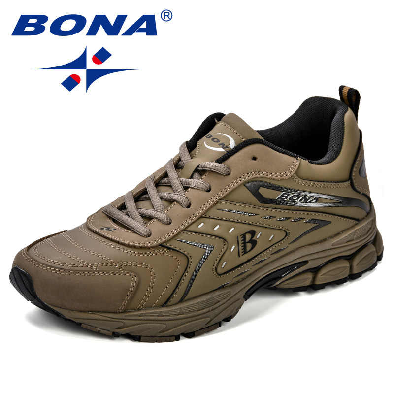 Bona homens sapatos casuais marca sapatos masculinos tênis apartamentos confortáveis respirável microfibra lazer ao ar livre calçados na moda estilo