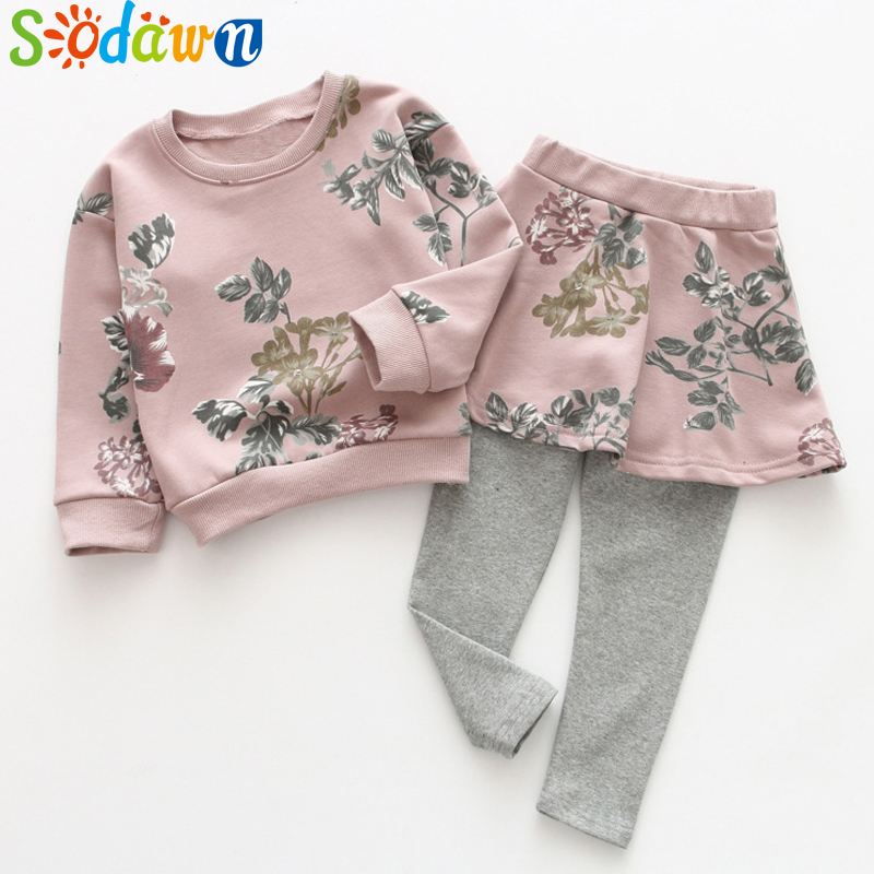 Sodawn Children Clothing Autumn New Girls Clothing Set Printing Long Sleeves Tops+Skirt Pants 2Pcs Fashion Girls Clothes high quality new spring autumn girls clothing sets kids clothes girls solid skirt tops set children clothing