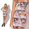 Casual Impresos Vestidos de Verano Nueva Llegada Mucha Azulejo Partido Dama de La Moda Vestido de La Vendimia Atractiva de Las Mujeres Ropa 2014