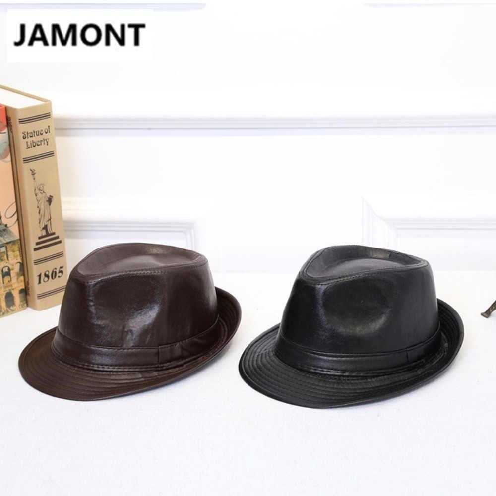 a6374c94352 ... 2018 Autumn Winter Men Women Classic PU Leather Fedora TOP Hat Panama  BOWLER HAT Cowboy Gentleman ...