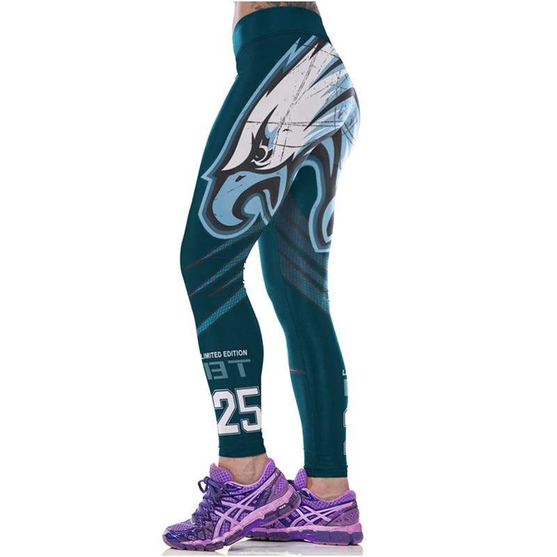 Women Sport Leggings Eagle Hawk Print 3D America Football Sportwear High Waist Pant Slim Running Capris Fitness Jogging Jeggings