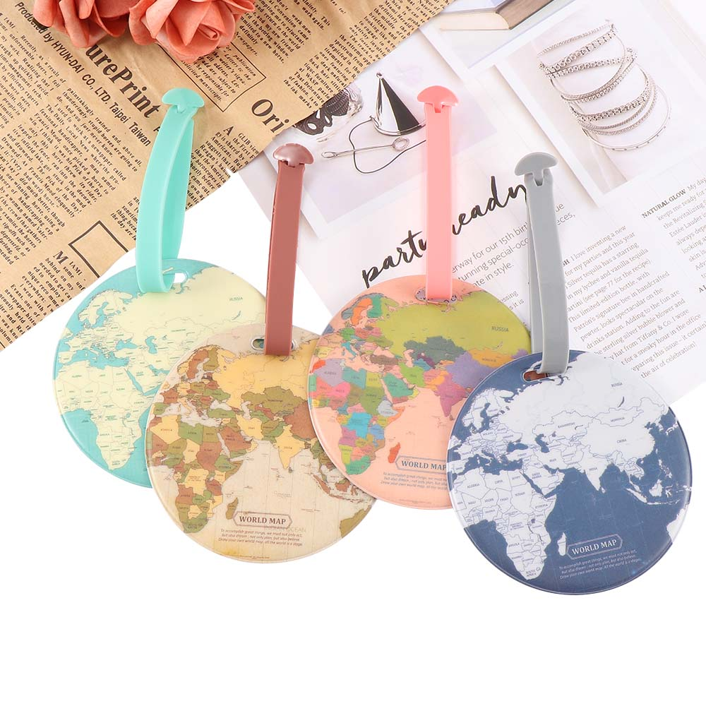 Creative Luggage Tag Global Map Silica Suitcase ID Address Holder Identifier Baggage Boarding Tags Portable Travel Accessories
