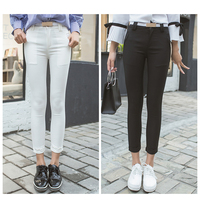 2017 New Women Office Work Pencil Pants White Black Ladies Business Wear Ankle Length Trousers Female